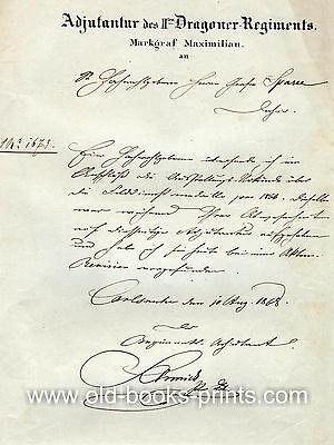 Dragoner-Regiment Markgraf Maximilian Schreiben von 1868 - Original!
