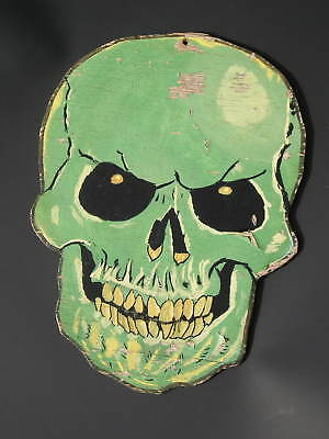 Nicely Aged Vintage Halloween Skull on Wood Artist Unknown Green Original Paint