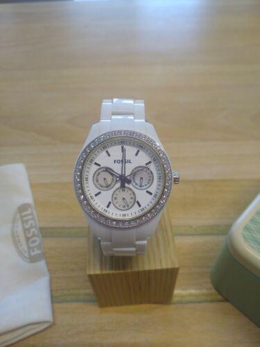 Fossil Uhr Multifunktion Damen Mädchen, ES 1967, neue Batterie u. Box, Glitzer