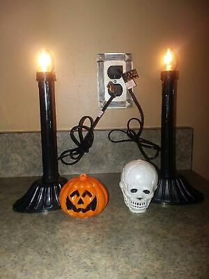 HALLOWEEN PUMPKIN AND SKULL PLASTIC BLOW MOLD ELECTRIC CANDLE WINDOW LIGHTS