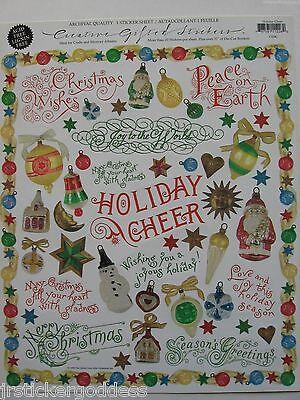 Gifted Line Stickers Christmas Words Phrases Ornaments Star Santa John Grossman  - Christmas Phrases
