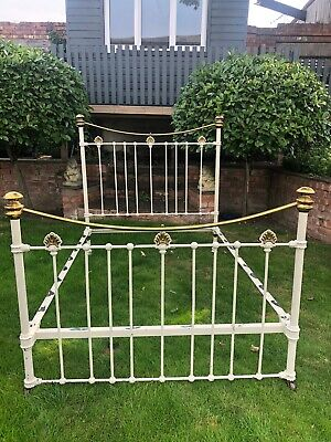 """Antique Brass And Cast Iron Painted Bed 4' 6"""""""