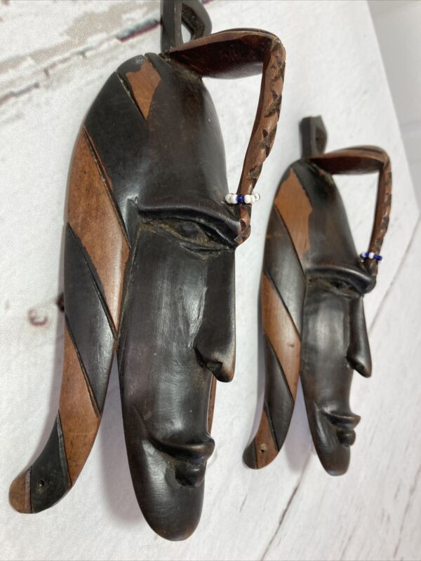 """2 Hand Carved Wooden Tribal Face Wall Art Hanging Decorative Folk Art! 9""""  147C"""