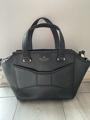 Kate Spade Small Black Leather Bow Detail Front Detachable Strap Shoulder Bag