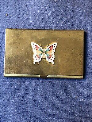 Vtg Gold Toned Business Card Holder W Enamel Butterfly Design