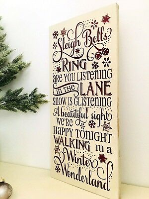 Sleigh Bells Ring, Winter Wonderland Song, Christmas Song Sign, Christmas Carol  ()