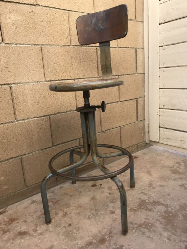 Vintage industrail Stool, Machinist, drafting, work bench stool