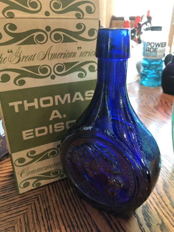 Vintage Presidential Bottle/ Purple WHEATON GLASS BOTTLE W/ THOMAS ALWA EDISON