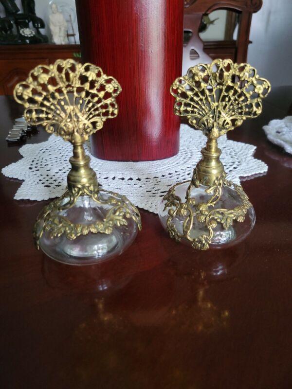 Pair Of Antique Victoria Glass Bottles Perfume