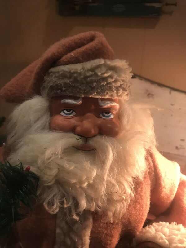 """REDUCED Antique look  19"""" Woodcutter Santa Claus Candy Container reproduction"""