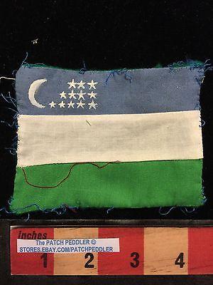 Uzbekistan Flag Patch ~ Crescent Moon & Stars ~ Older & Seems Homemadeish  5OU5