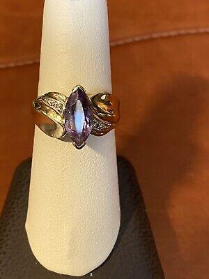 Estate 10k Yellow Gold Marquis Amethyst Diamond Ring { Repair -