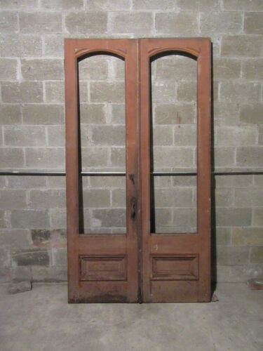 ~SET OF ANTIQUE DOUBLE STOREFRONT DOORS ~ 52 X 95 ~ ARCHITECTURAL SALVAGE ~