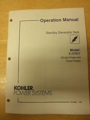 Kohler Operation Manual Standby Gen Sets Model 6.5 Rmy Single Phase Three Phase