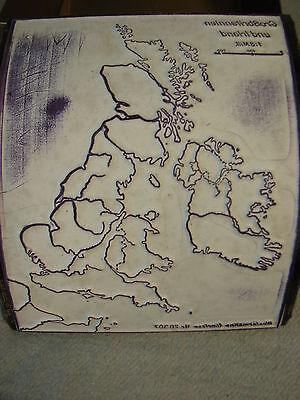 Westermann Umriss-Stempel Großbritannien mit Box alt antik Landkarte Nr2