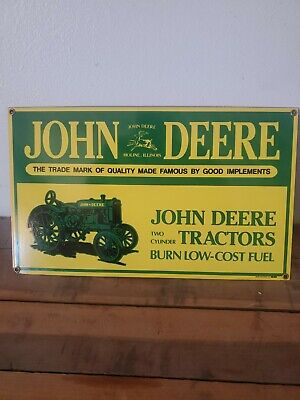 VINTAGE JOHN DEERE PORCELAIN SIGN TWO CYLINDER FARM TRACTOR 1995 ANDE ROONEY