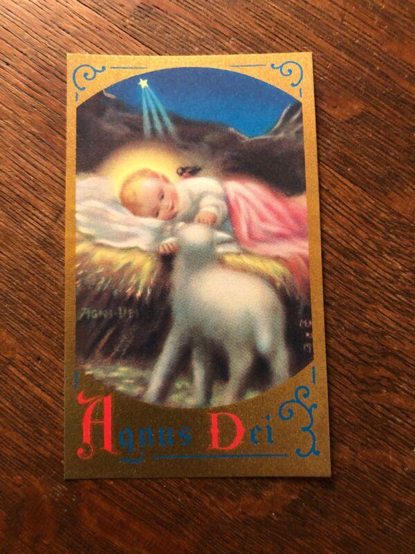 Vintage Catholic Holy Card - Angus Dei Christ The Lamb Of God - Nealis Christmas