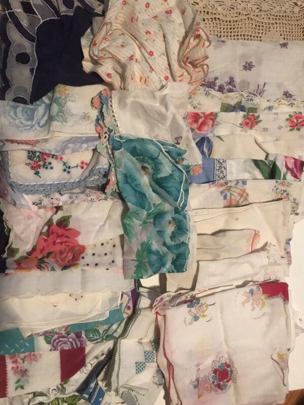 49 Unique and vintage hankies handkerchiefs lot, Excellent Condition