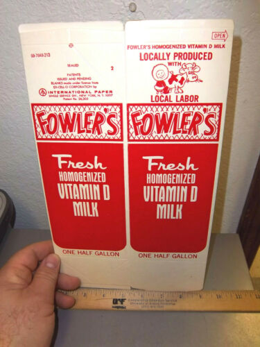 Alaska Fowlers Dairy Farm half gallon milk carton, northern most dairy RED, rare