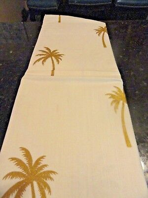 New Shiny GOLD Palm Trees~Off White~fabric SHOWER CURTAIN Tr