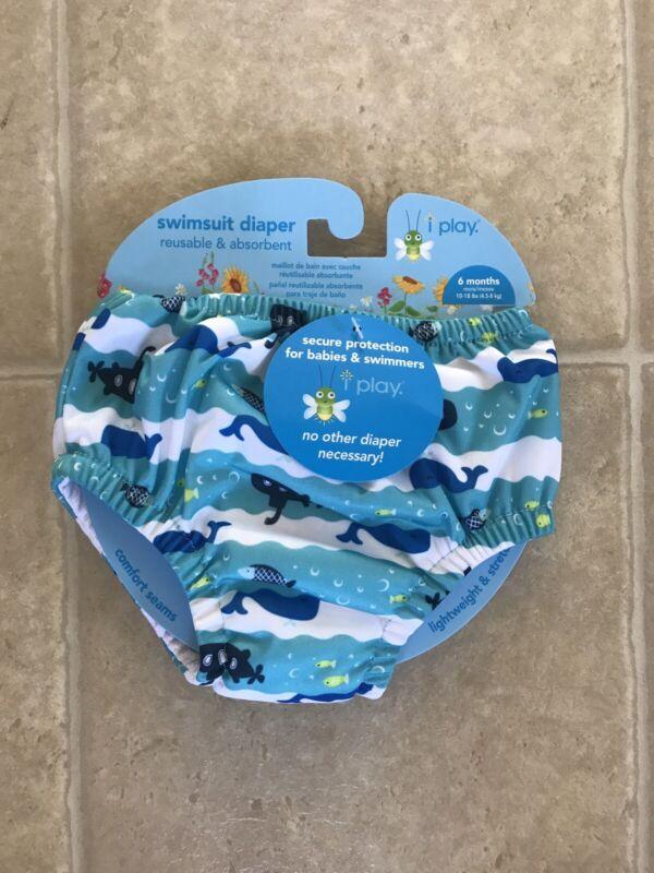 iPlay Aqua Submarine Whale Reusable Swim Suit Diaper 6 Months White Blue NEW