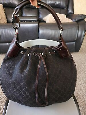 Vintage Gucci Horsebit GG Brown Monogram Messenger Shoulder Bag Traveler