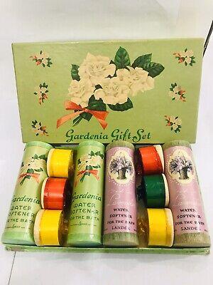 Vintage LANDER Gardenia & Lavender Perfume Bath Crystals Salts Gift Set In Box Gardenia Bath Crystals