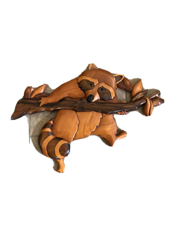 """20"""" Pieced Wooden Handmade Raccoon on Branch Striped Tail Wall Hanging"""