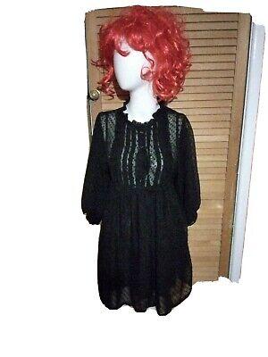 Black Lace Sheer Babydoll Dress Echoo Size L Lined full puff sleeves Tie belt
