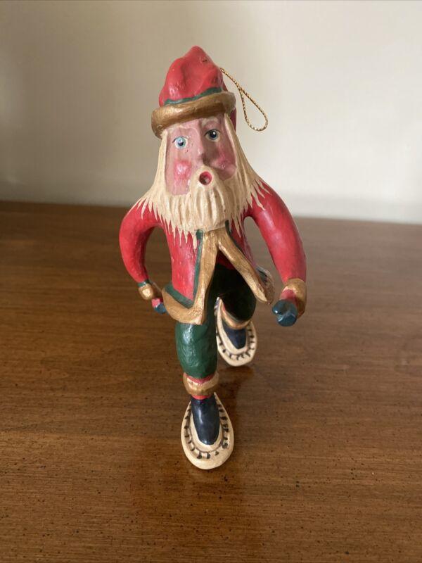 "Bill Jauquet ""Santa on Snow Shoes"" Ornament"
