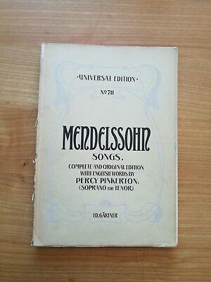 Noten. Mendelssohn. Lieder. Sopran oder Tenor.