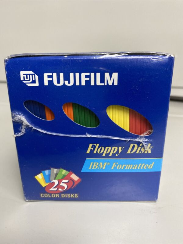 "Fuji Fujifilm Floppy Disk 2HD IBM 3.5"" Color Formatted Disks 24Pcs F5"