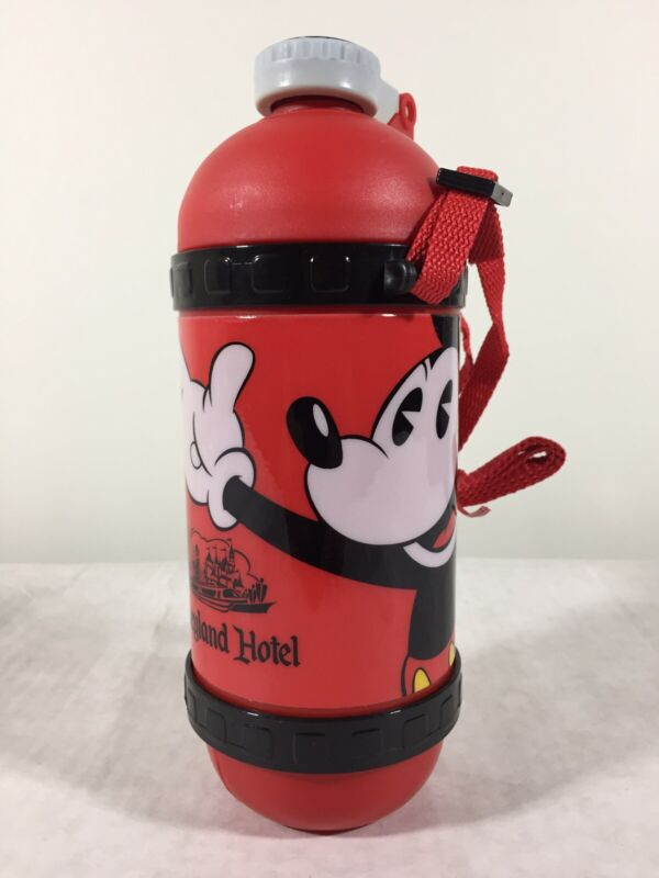 VTG NOS Disneyland Hotel Water Bottle w/ Built-in Straw & Strap 90s Mickey Mouse