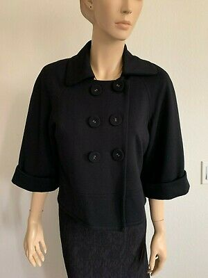 VINTAGE SANDRO BLACK DOUBLE BREASTED CROPPED JACKIE O JACKET BLAZER SIZE M