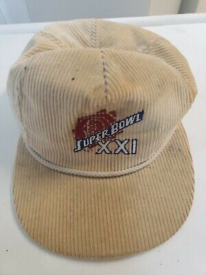 Vintage Corduroy Hat Super Bowl XXI Cap Adjustable Nfl Snapback 100% Cotton  Super Bowl Xxi