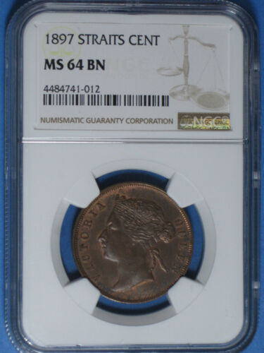 1897 Straits Settlements 1 Cent NGC MS 64 BN Uncirculated