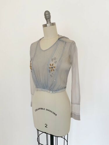 Vintage 1910s Silk Beaded Blouse Sheer Middy Sailor Top Chiffon Antique