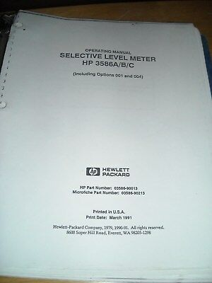 Hp 3586abc Selective Level Meter Operating Manual Including Options 001 And 00