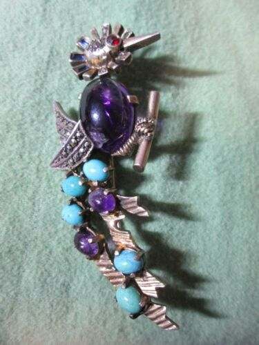 """Large ANTIQUE German Sterling Silver Bird Pin Amethyst Turquoise, Marcasite 3"""""""