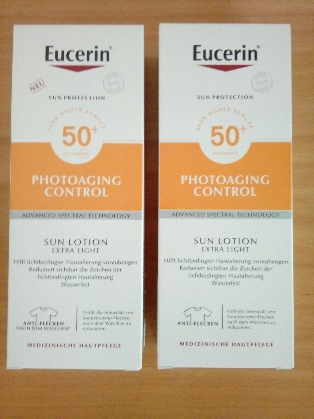 SET Eucerin Sonnencreme LSF 50+ photoaging control Sun Lotion extra leicht