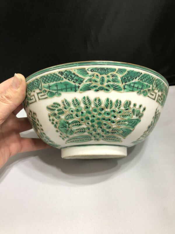 Vintage Chinese Porcelain Bowl Hand Painted Green Gold Decorated in Hong Kong