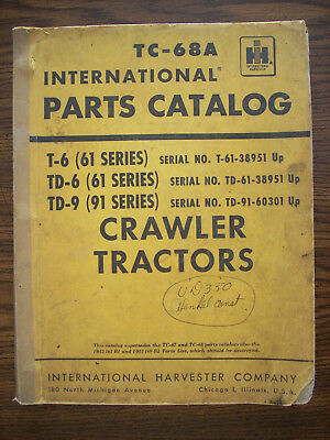 Ih Farmall International T6 Td6 61 Series Td9 91 Series Crawler Parts Manual