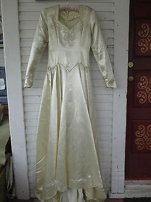 Vintage Champagne/Ivory Liquid Satin w/Train Handmade Wedding Dress size small