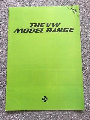 VW  1978 model range UK Sales brochure in Very Goog Condition
