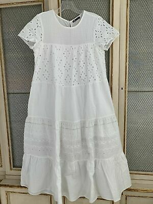 ZARA TIERED CUTWORK EMBROIDERED MIDI TIERED DRESS SIZE S