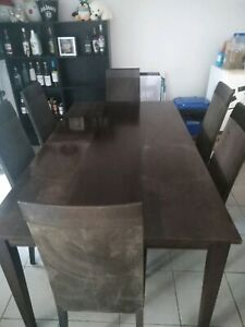 6 seater timber dining table