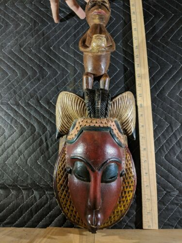 Guro Yaure Portrait Mask with Animal Carving — Authentic Carved Wood African Art