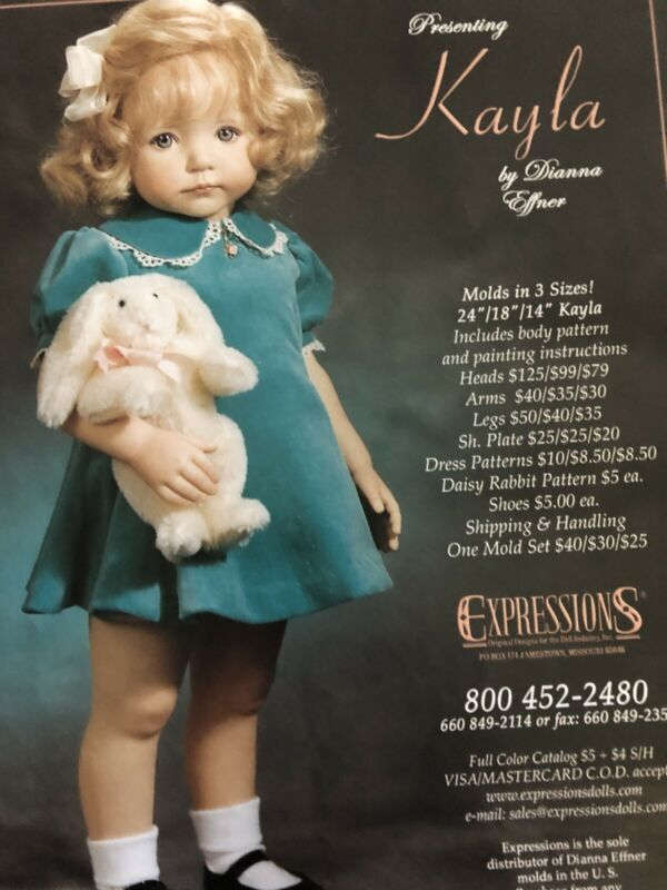 "24"" Kayla  Dress Pattern For Expressions Molds By Dianna Effner"