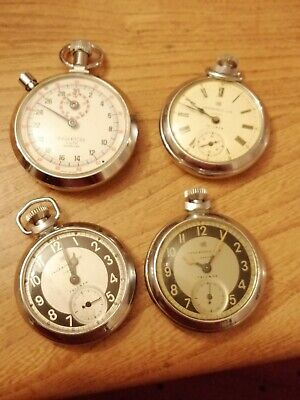 4 X Ingersoll Pocket Watches. 3 X Triumph & Stopwatch. Spares Or Repair