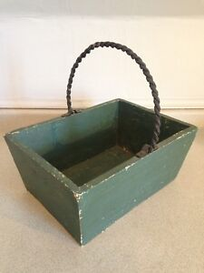 """Rustic Pine Basket With Rod Iron Handle, 13.5"""" x 10"""" x 6""""D"""